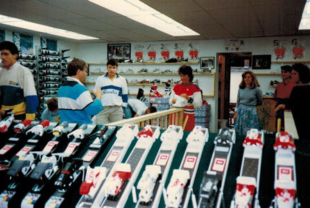 We survive one winter but wonder if we can survive a second one! No one runs in the winter in 1982, but they ski. We jump head long into the downhill ski business and triple our business in a season. Not a good idea! The Ski Shop at Aerobics First is born, and it is a sweet beginning.