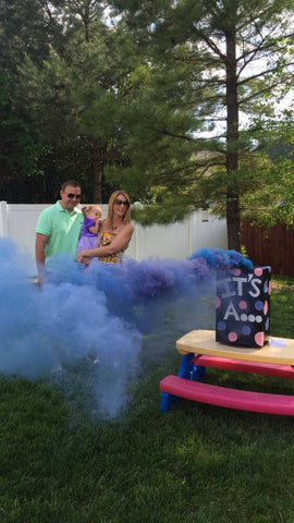 blue gender reveal smoke bomb color smoke stick