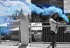 colored smoke stick blue gender reveal smoke bomb