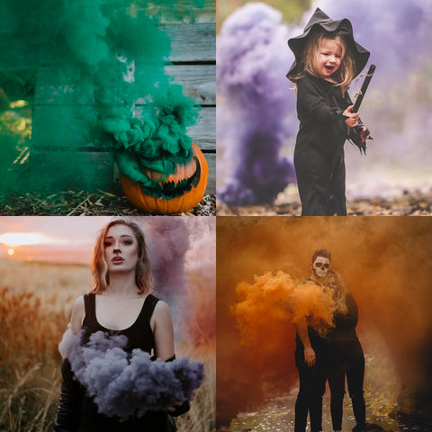 halloween smoke bomb photography