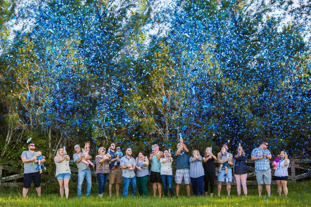 Gender Reveal Confetti Cannons - Pink Blue Purple