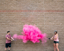pink gender reveal smoke powder cannon holi