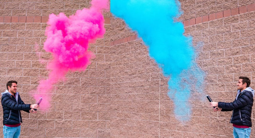 gender reveal smoke powder cannon holi color pink blue