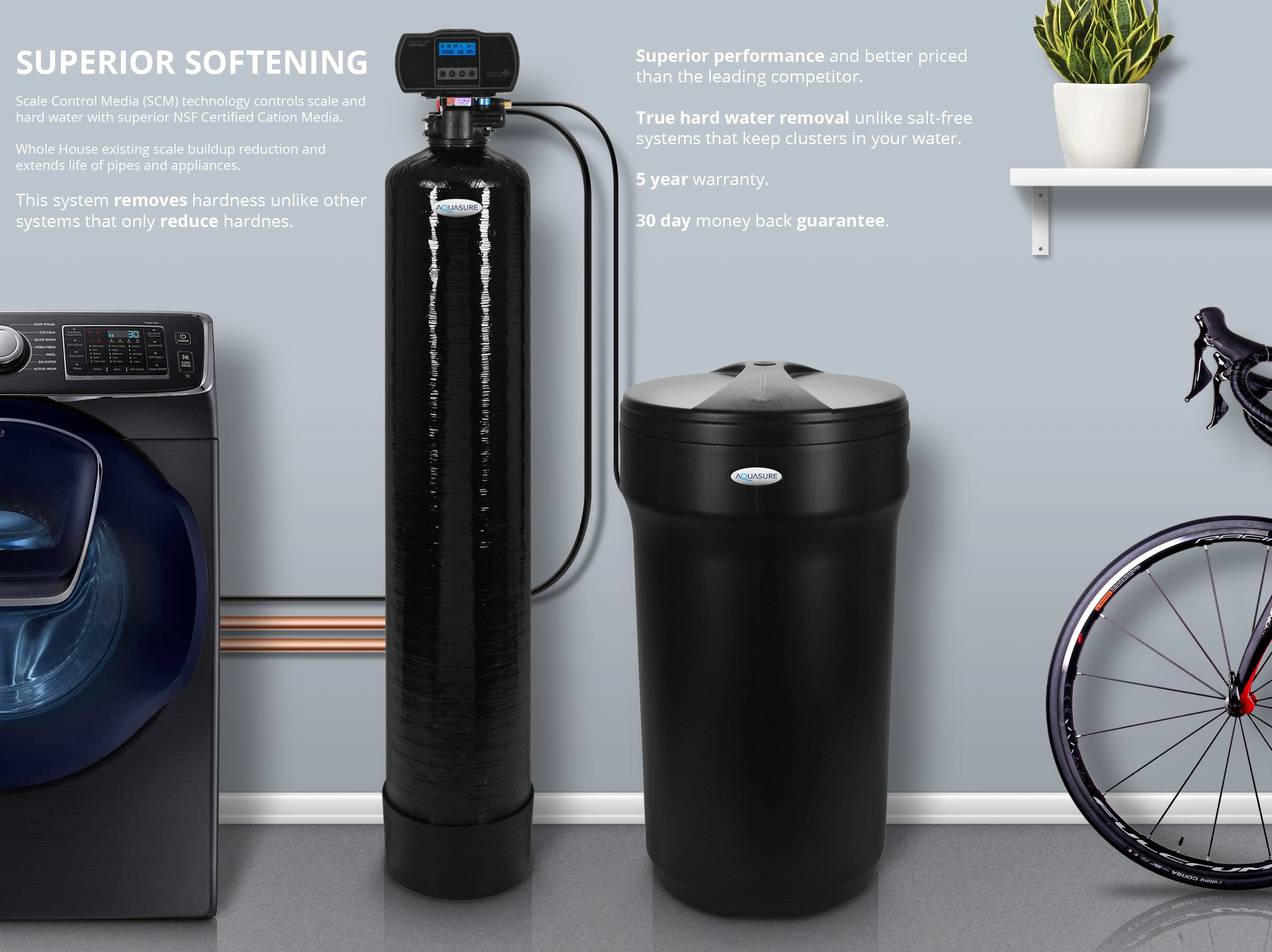 aquasure water softener system digital whole house high efficiency for 24 bathrooms