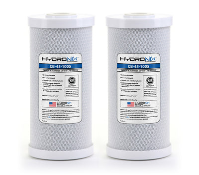 "2) Whole House Or Hydroponics Carbon Block Water Filters CTO 4.5"" x 10"" 5 Micron"