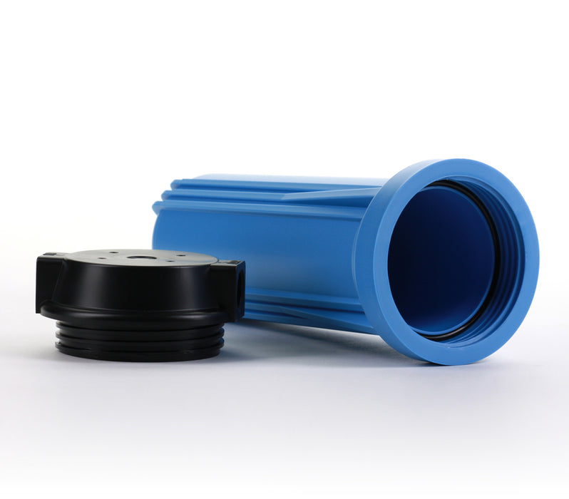 "RO & Filtration Systems 10"" Blue Housing w/ Black Flat Cap, 1/4"" Ports - iFilters"