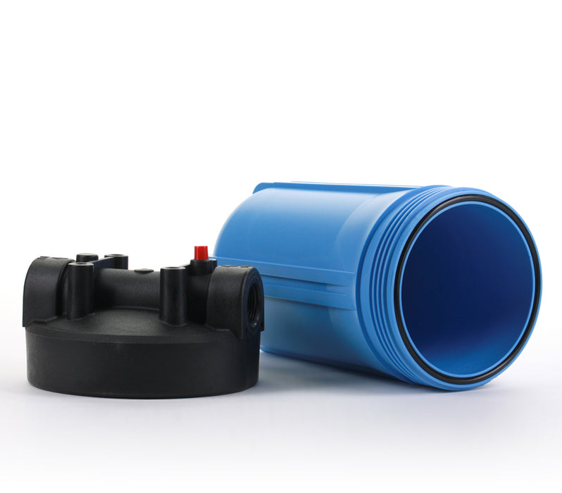 "Filter Housing For House or Hydroponics Big Blue Size 10"" Blue, 1.5"" Ports w/ PR"