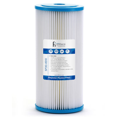 "SP30-4510 Sediment Pleated Water Filter City and Well Water, Washable 4.5"" x 10"", 30 Micron"