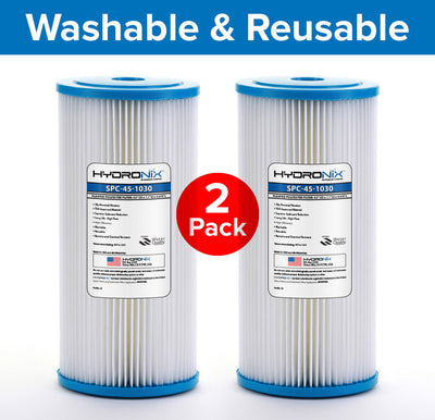 2PK R30-BB RS6 FXHSC Compatible Sediment Pleated Water Filter Washable 30 Micron