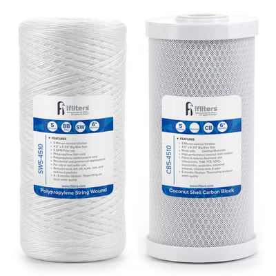 "SW-CB5-4510 Whole House Sediment & Carbon Block Water Filter, 5 Micron 4.5""x10"""