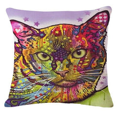 Cat Multi-Color Sofa Pillow Cover