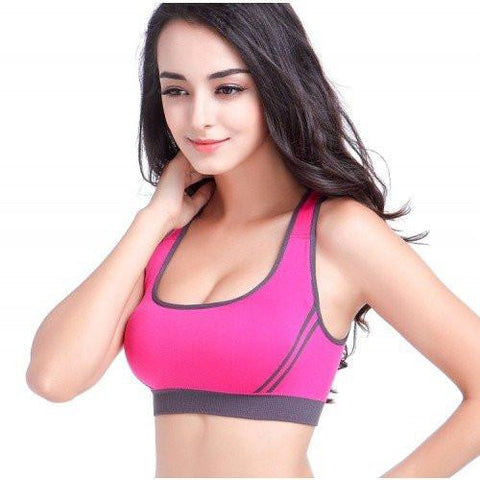 Sports Bras - Women's Padded Athletic Fitness Sports Bra Stretch Cotton Seamless