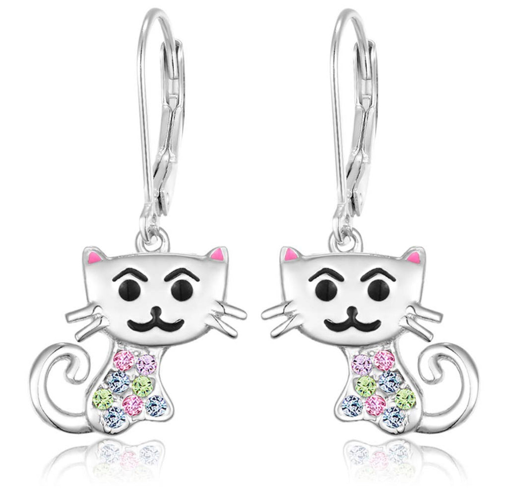 Chanteur Designs Crystal Cat Leverback Earrings - Lily Pad