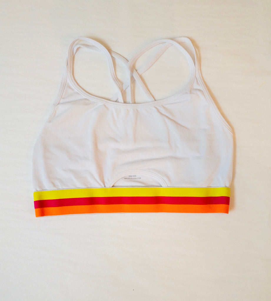 Sports Bra, White with Yellow/Pink/Orange Stripe Elastic Band (Size 7-14) - Lily Pad