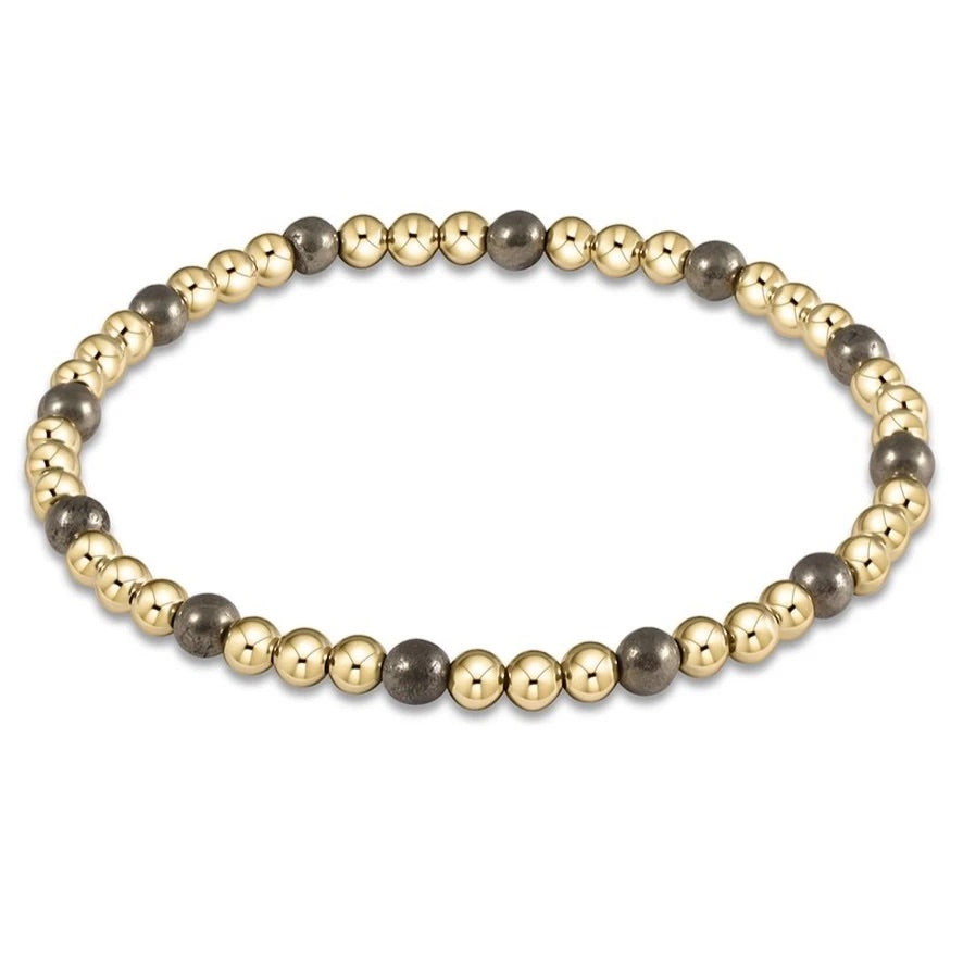 Gold Sincerity Pattern 4mm Bead Bracelet, Pyrite - Lily Pad