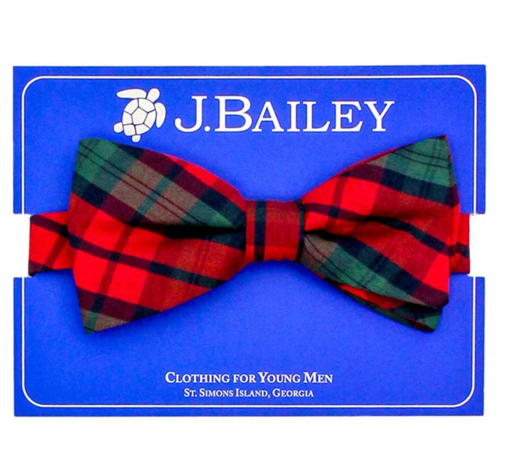 J. Bailey Johnny Bow Tie, December Plaid - Lily Pad