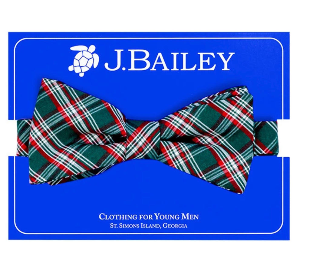 J. Bailey Johnny Bow Tie, Holly Plaid - Lily Pad