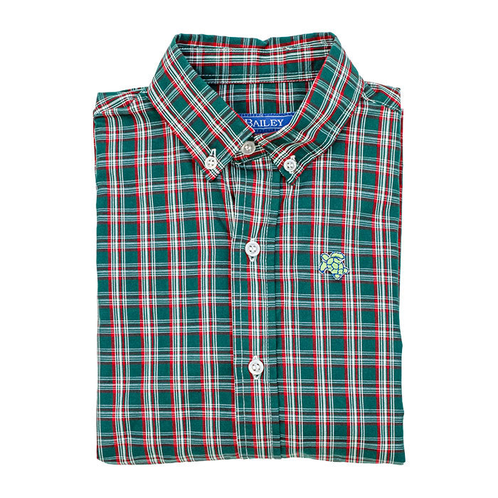 Roscoe Button Down Shirt, Holly Plaid - Lily Pad