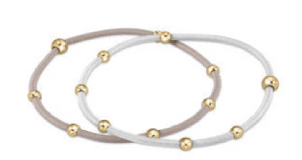 """e""ssentials bracelet stack of 2, Dove Set - Lily Pad"