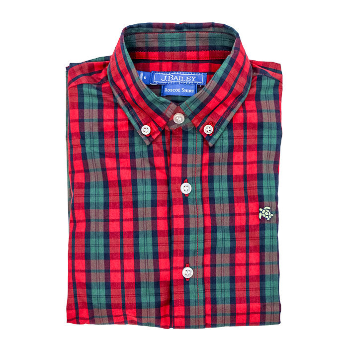Roscoe Button Down Shirt, December Plaid - Lily Pad
