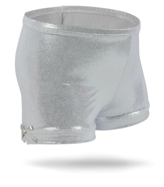 Monkey Bar Buddies Girls Spandex Shorts,  Silver Shimmer - Lily Pad