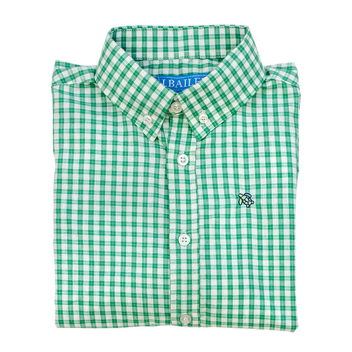 Roscoe Button Down Shirt, Ming Windowpane - Lily Pad