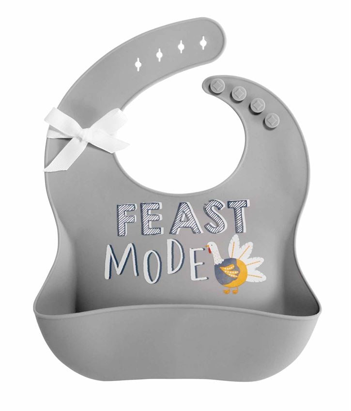Thanksgiving Silicone Bibs, Gray, Feast Mode - Lily Pad