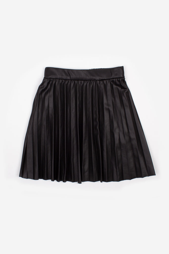 Nev & Lizzie Black Faux Leather Pleated Skirt - Lily Pad