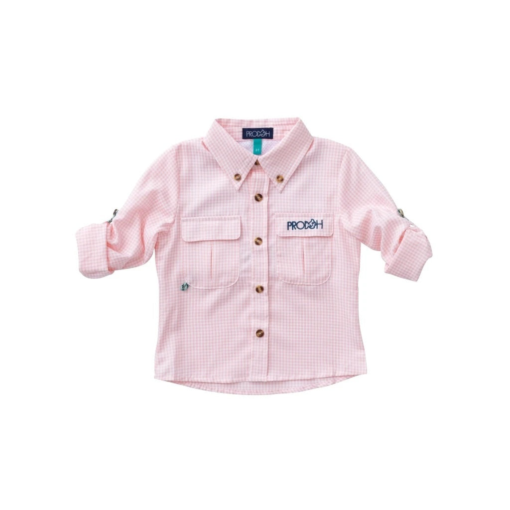 Windowpane Vented Back Fishing Shirt, Rose Shadow - Lily Pad