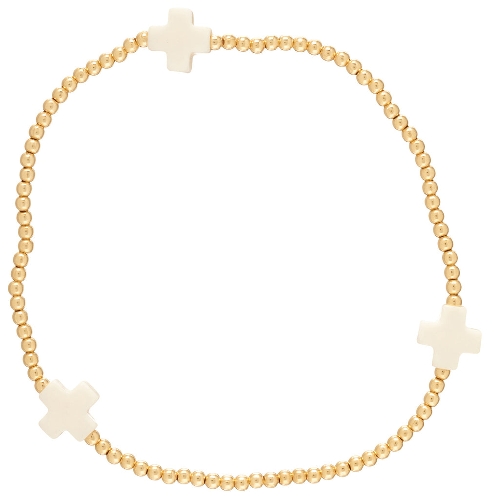 enewton design Signature Cross Bracelet 3mm Gold - Lily Pad