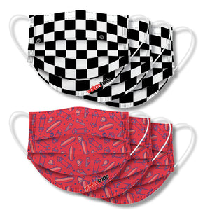 "Kids Fun Masks (6-pack) ""Skater"" & ""Checkers"" designs"