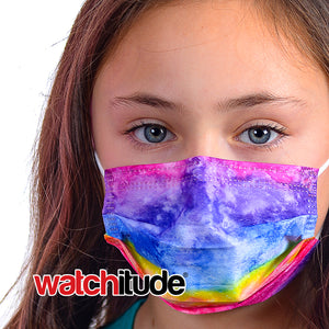 "Kids Fun Masks (6-pack) ""Rainbow Tie Dye"" & ""Purple Tie Dye"" designs"