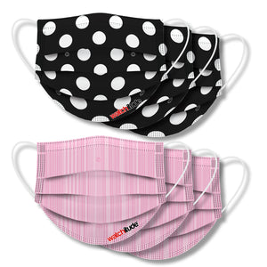 "Face Masks (6-pack) ""Pink Ribbon"" & ""Polka Dots"" designs"