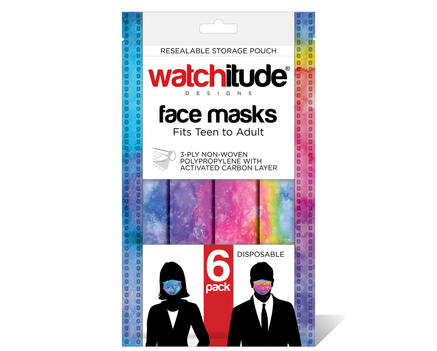 "Face Masks (6-pack) ""Blue Tie Dye"" & ""Rainbow Tie Dye"" designs"