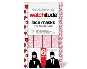 "Face Masks (6-pack) ""Maze"" & ""Hearts"" designs"