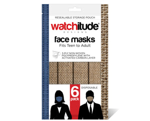 "Face Masks (6-pack) ""Burlap"" & ""Blue Linen"" designs"
