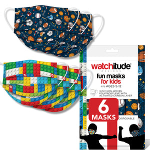 "Kids Fun Masks (6-pack) ""Build Up"" & ""Sports"" designs"