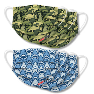 "Kids Fun Masks (6-pack) ""Shark Frenzy"" & ""Dino Camo"" designs"