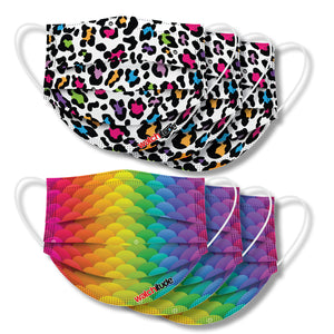 "Kids Fun Masks (6-pack) ""Leopard Camo"" & ""Rainbow Skin"" designs"