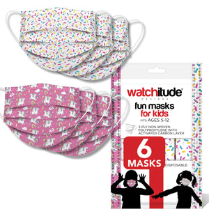 "Kids Fun Masks (6-pack) ""Sprinkles"" & ""Unicorn World"" designs"
