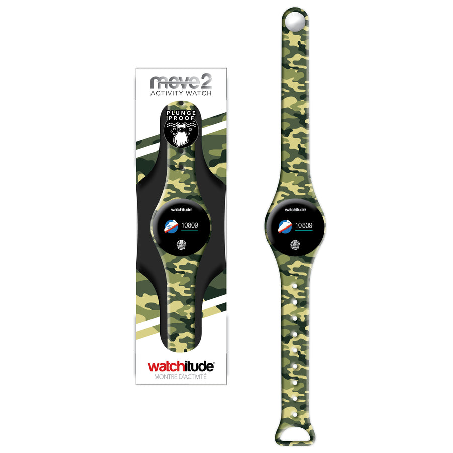 Army Camo - Watchitude Move2 - Kids Activity Waterproof Watch - Watchitude