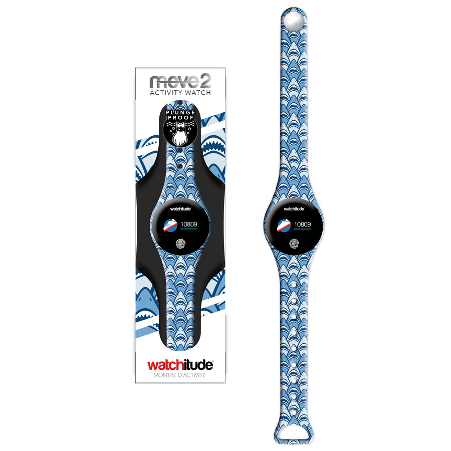 Shark Frenzy - Watchitude Move2 - Kids Activity Waterproof Watch - Watchitude