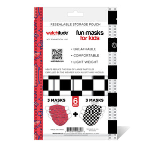 "Kids Fun Masks (36-pack) ""Skater"" & ""Checkers"" designs"