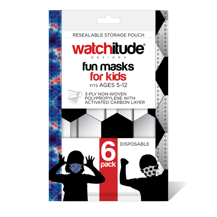 "Kids Fun Masks (36-pack) ""Soccer"" & ""Blue Tie Dye"" designs"