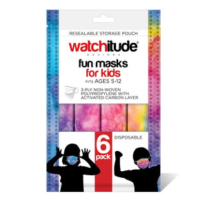 "Kids Fun Masks (36-pack) ""Rainbow Tie Dye"" & ""Purple Tie Dye"" designs"