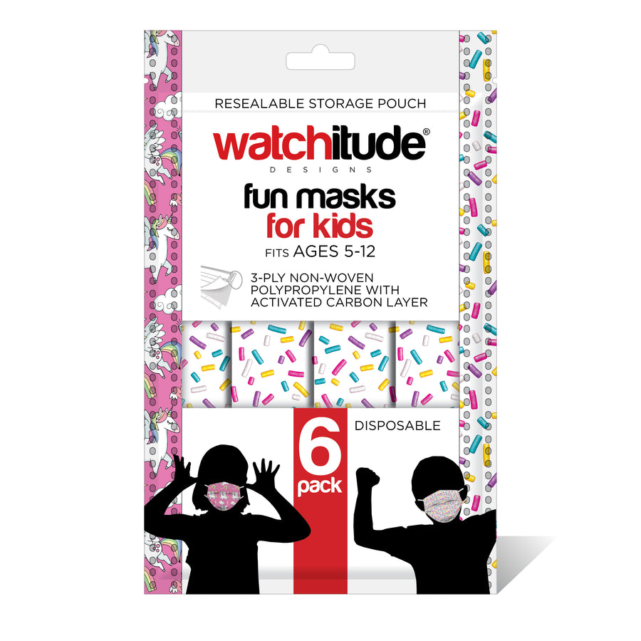 "Kids Fun Masks (36-pack) ""Sprinkles"" & ""Unicorn World"" designs"