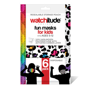 "Kids Fun Masks (36-pack) ""Leopard Camo"" & ""Rainbow Skin"" designs"