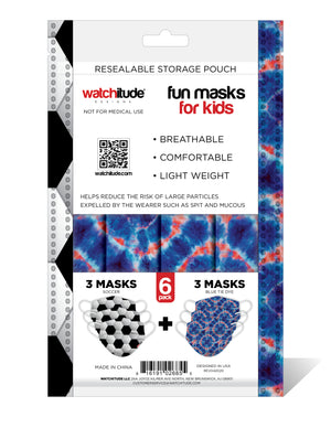 "Kids Fun Masks (6-pack) ""Soccer"" & ""Blue Tie Dye"" designs"