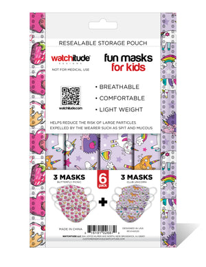"Kids Fun Masks (6-pack) ""Butterfly Picnic"" & ""Club Unicorn"" designs"