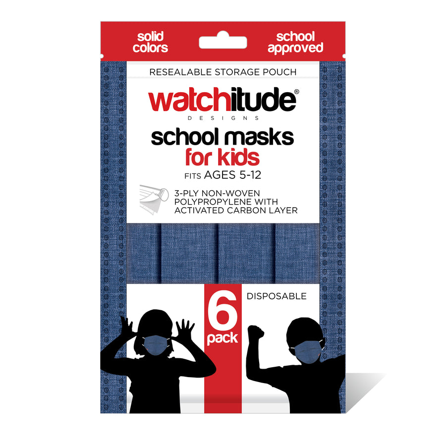 "Kids School Masks (6-pack) ""Denim Blue"" design - Solid Color - School Approved"